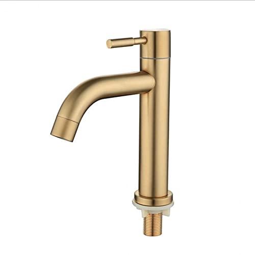 HYRGLIZI G1 / 2 304 Faucet de Cuenca de Acero Inoxidable, Cepillado Golden Single Frond Bathroom Faucet, Inicio/Hotel Fashion Tap