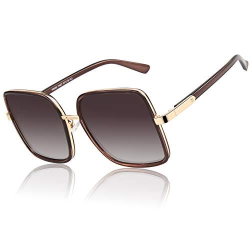 GQUEEN Trendiges Oversized Eckiges Gestell polarisierte Sonnenbrille für Damen UV400 MF5
