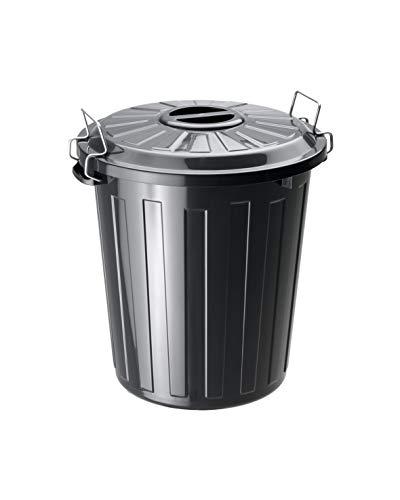 Rotho Basic Mülleimer mit Deckel, Kunststoff (PP), Schwarz, 25 Liter (37 x 36 x 41,5 cm)