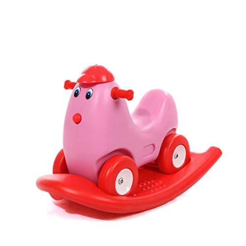 Têtes de cheval à chevaucher Trotteur pour bébé à Quatre Roues à Bascule (Couleur : Pink)