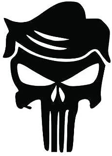 Donald Trump Punisher Skull Funny Vinyl Decal Sticker | Cars Trucks Vans SUVs Walls Cups Laptops | 5.5 Inch | Black | KCD27451B