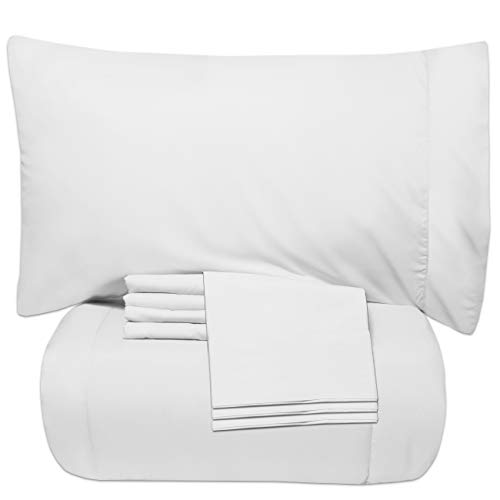 Sweet Home Collection 7 Piece Bed-In-A-Bag Solid Color Comforter & Sheet Set, Full, White