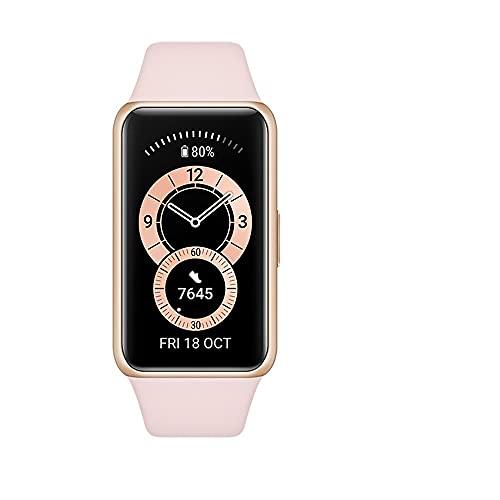 """HUAWEI Band 6 Smart Band Fitness Tracker, Touchscreen AMOLED 1.47"""" a colori, Monitoraggio Battito Cardiaco, Sonno, Saturazione dell`Ossigeno, Resistente all'Acqua, Sakura Pink"""
