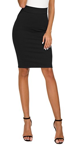 EXCHIC Women's High Waist Bodycon Midi Pencil Skirt (S, Black)