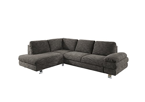 New Level Ecksofa MARTIN / L-Form mit Ottomane links / 260 x 86 x 193 cm (BxHxT) / beige-braun