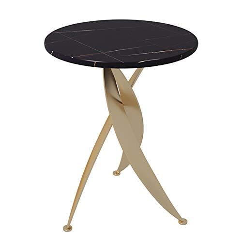 ERLAN Tavolino Tavolino Laterale Commerciale per Azienda caffè, Tavolino Rotondo da Casa Piccolo con Piano in Pietra Sinterizzata Nera, Telaio in Ferro (Color : Gold, Size : 45cm/17.7in)