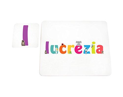 Little Helper LHV-LUCREZIA-COASTERANDPLACEMAT-15IT Dessous de verre et sets de table avec finition brillante, personnalisés pour filles Nom Lucrezia, multicolore, 21 x 30 x 2 cm