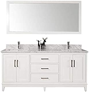 Belevedere Bath Freestanding White Double Bathroom Vanity with Italian Carrara Marble Top | His and Her Sinks Vanity Set | Traditional Modern Farmhouse Double Vanity Sink Set | 72 Inch