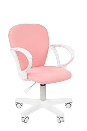 CHAIRJet Schreibtischstuhl Kinder mit Rollen - Höhenverstellbar Kinderdrehstuhl Armlehnen - Jugenddrehstuhl Kinderschreibtisch Sessel - Kinderbürostuhl Drehsessel 105 (Rosa, mit Armlehnen)