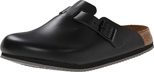 Birkenstock Unisex Professional Boston Super Grip Leather Slip Resistant Work Shoe,Black,40 M EU