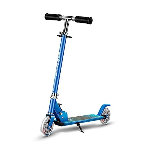 JIANGCJ Scooter de 2 ruedas, plegable con 2 ruedas con luz LED, 3 altura ajustable y sistema de liberación plegable de un botón, adecuado para niños de 3 a 10 años, rosa (color: azul)