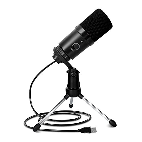 Microfono PC con controllo del volume, microfono con treppiede, microfono per computer per YouTube, Podcast, registrazione, registrazione, voce, giochi, streaming, Voice Ove