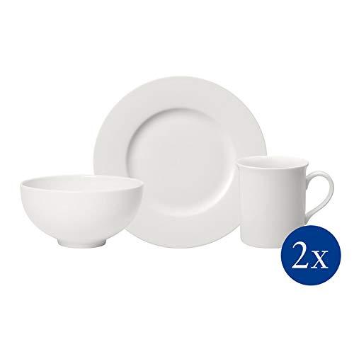 Villeroy & Boch Twist White set de desayuno para dos, 6 piezas, Porcelana Premium, Blanco