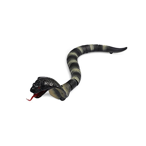 [2018 NEWEST]17' Remote Control Snake Toy,Unee1 Infrared RC Remote Control Chargeable Lifelike Realistic Naja Cobra Toy with Retractable Tongue and Swinging Tail for Kids Fun Entertainment Gifts-Black