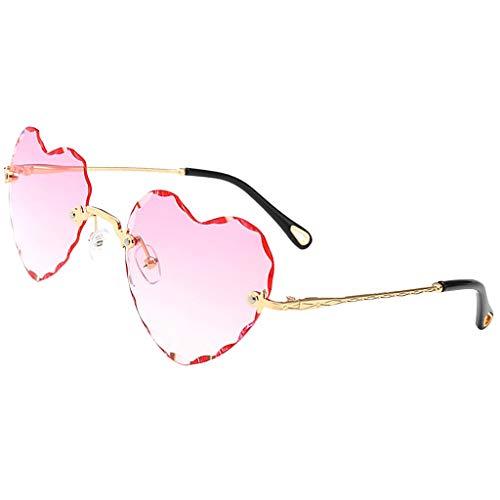 sharprepublic Gafas de Sol Sin Montura Preciosas Mujeres en Forma de Corazón UV400 Gafas Lindas Gafas de Sol - Rosado, Tal como se Describe