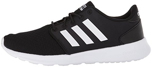 adidas Women's Cloudfoam QT Racer Sneaker, Black/White/Carbon, 9 M US 4