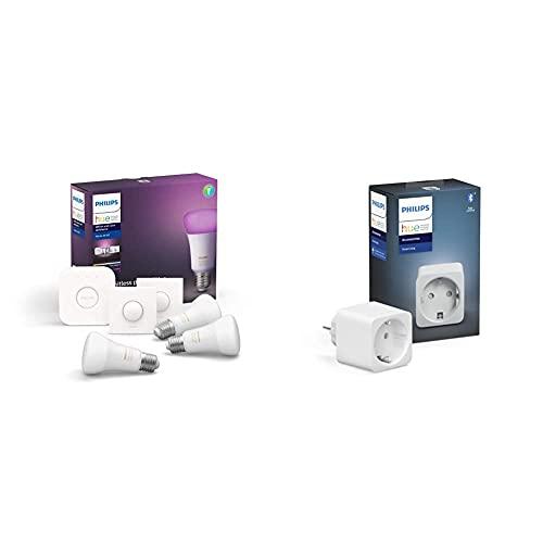 Philips Hue White and Color Ambiance Pack de 3 bombillas LED inteligentes E27, puente de conexión y 2 Smart Buttons + Philips Hue Enchufe Smart Plug, compatible con Bluetooth y Zigbee