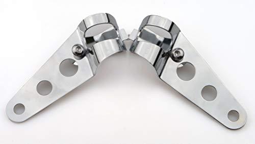 IGUANA CUSTOM PARTS - Pack de soportes cromados universales tipo abrazaderas para anclar faros de moto, intermitentes o cúpulas en horquillas de 23mm a 30mm,