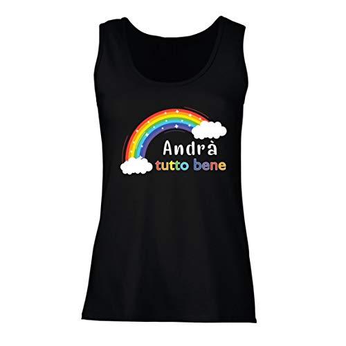 lepni.me Camisetas sin Mangas para Mujer Andra Tutto Bene Еncouraging Frase de Esperanza (Medium Negro Multicolor)