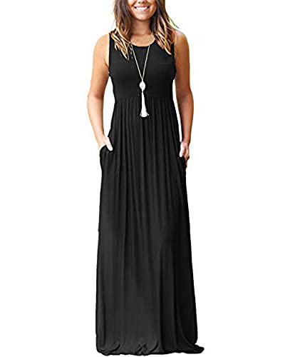 AUSELILY Women Solid Plains Summer Floral Casual Maxi Maternity Prom Formal Dresses for Women Solid Plain S Black