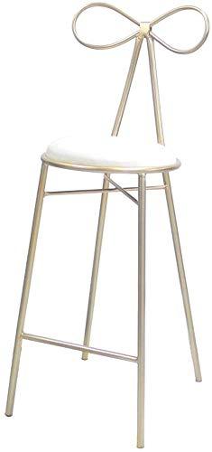 QTQZDD Nordic Bar Chair Gold Metalen houder Barkruk Coffee Shop stoel suède kussen ontwerp (zithoogte: 65 / 75CM) (kleur: roze, grootte: 75cm) 1 1