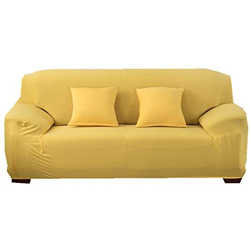 KFDZSW Funda De Sofá Funda Elástica para Sofá Forros para Sofas Fundas De Sofa Ajustables Color Sólido Fundas Decorativa para Sofá, Banda Elástica (Amarillo Caramelo,4 Plaza)