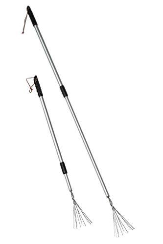 2-mal BigDean Laubstecher 80-123cm lang // Laubsammler // Papierstecher // Friedhofsharke // Teleskop Laubstecher // Papierstecher