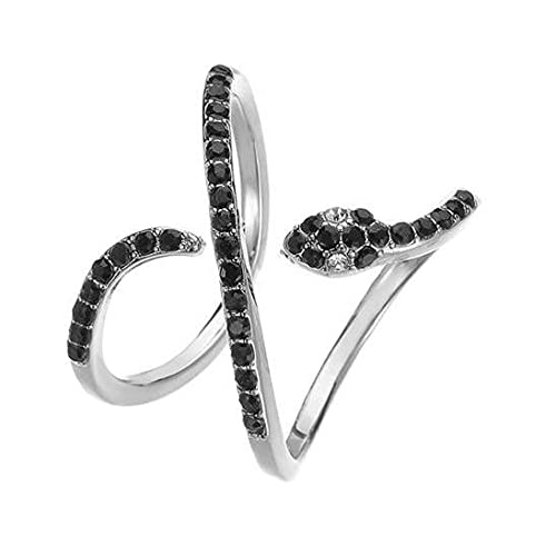 Anillo plateado serpiente negro con diamantes de imitación.