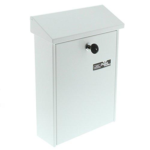 BURG-WÄCHTER Briefkasten mit aufklappbarem Regendach, A5 Einwurf-Format, Verzinkter Stahl, Daily 5861 W, Weiß