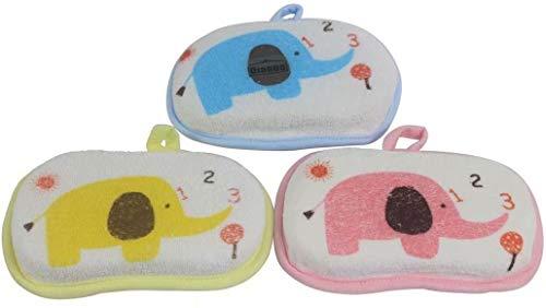 Big Bargain Store 3 PCS éponge de bain pour bébé (couleurs aléatoires) éponge de douche en mousse de bain pour bébé en coton pur doux pour nouveau-nés enfants bébés enfants tout-petits brosse de bain