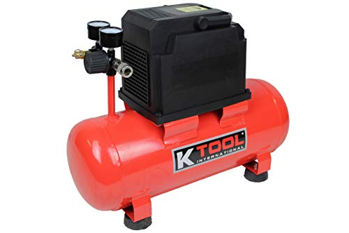 K Tool International Oil Free Air Compressor Horizontal Tank Design 3-Gallon 1/3 HP Motor Lightweight Easy to Carry; KTI89023