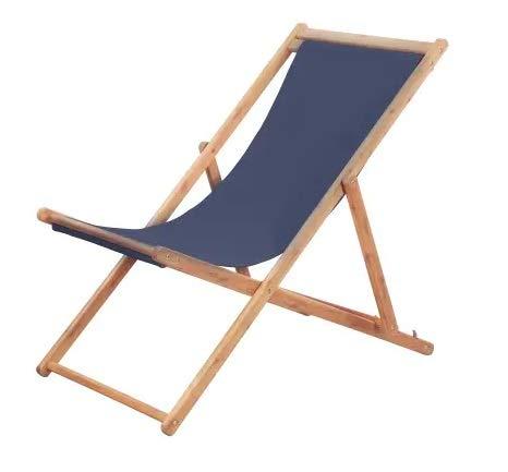 Cikonielf Tumbona de jardín plegable de madera maciza de teca, para la playa y el camping, color azul