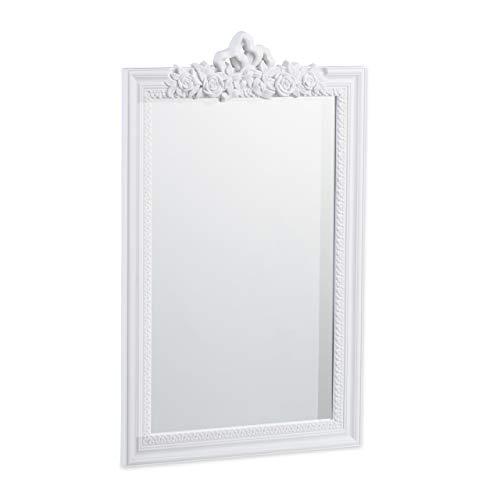 Relaxdays 10025535_49 baroque, Miroir rectangulaire à accrocher, design antique, couloir, salle de bain, Blanc, Polypropylène, 64 x 39,5 x 2 cm