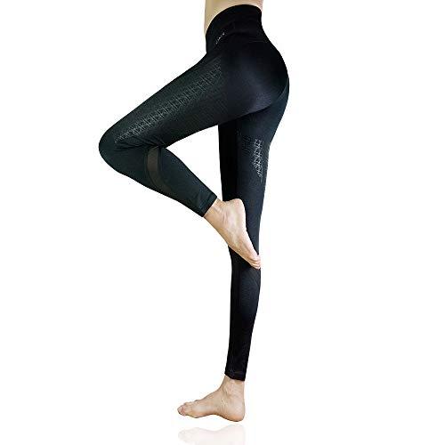 CLOSKIN® Damen Sport Leggings, Knöchellange Leggings Sporthose Blickdicht Fitnesshose Yogahose Laufhose (Schwarz, L)
