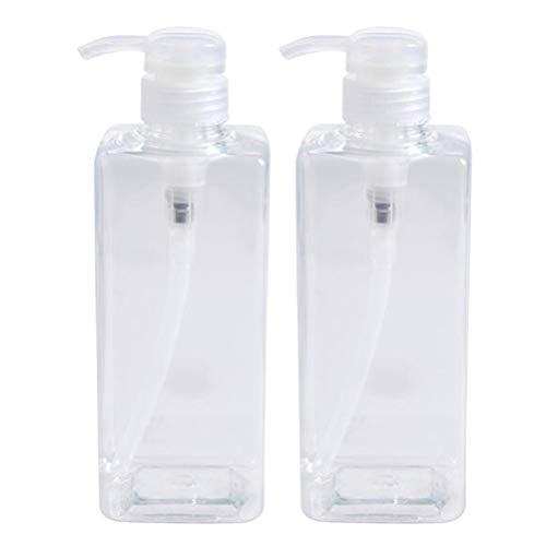 TOPBATHY 2 Pcs 600 Ml Douche Gel Bouteilles Conteneurs en Plastique Vide Savon Pompe Bouteilles Rechargeable Shampooing Conteneur Liquide Bouteille (Transparent)