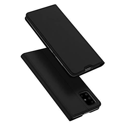 DUX DUCIS Hülle für Samsung Galaxy A51, Leder Klappbar Handyhülle Schutzhülle Tasche Hülle mit [Kartenfach] [Ständer] [Magnetisch] für Samsung Galaxy A51 (Schwarz)