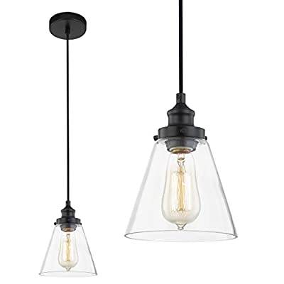WOXXX Pendant Lighting for Kitchen Island Bedroom Industrial Farmhouse Black Pendant Light with Clear Glass Shade Ceiling Light Fixture Hanging Lamp One-Light Adjustable Mini Pendant Light Fixture