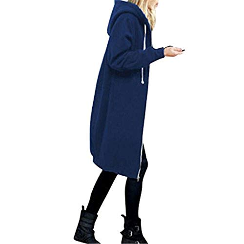 NEEKY Lange Jacke mit Kapuze für Damen - Mode Winter Warm Mantel Reißverschluss Open Hoodies Sweatshirt Oberbekleidung Tops(EU:36/S, Blau)