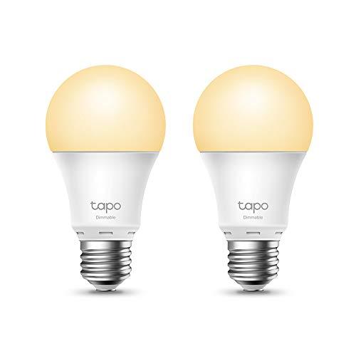 TP-Link -Bombilla LED Inteligente, Bombilla WiFi sin Necesidad de Hub, Blanco Cálido,Regulable,E27, 8.7W 806lm, Compatible Alexa, Echo y Google Home (Tapo L510E-2 Pack)