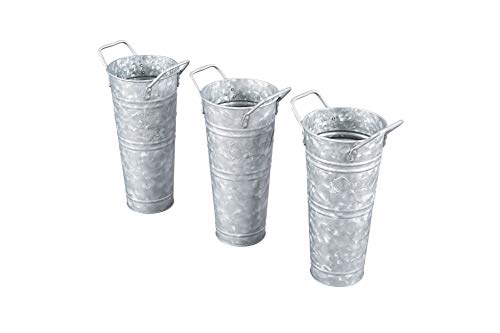 WH Walford Home Galvanized French Bucket with Handles, Set of 3-Party Supplies, Wedding Decor, Centerpieces, Home Decor-Galvanized Vases for Flowers- Indoor-Outdoor Flower Centerpieces