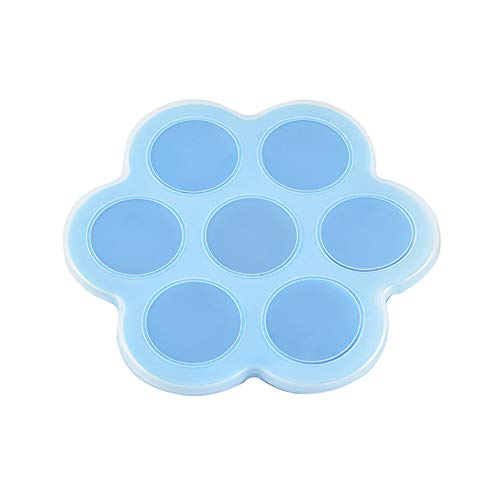 FOReverweihuajz Opbergdoos 7-Slot Silicone Herbruikbare Ice Cube Vorm Opbergdoos Container Voedsel Vriezer Lade Blauw