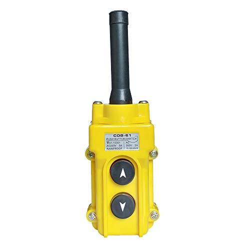 Hoist Crane Push Button Switch, Rainproof COB-61 Crane Pendant Control Station UP Down Hoist Push Button Switch