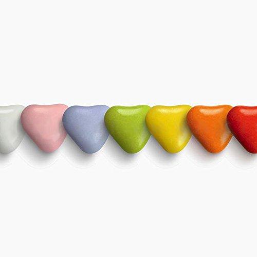 Herzdragees bunt 1 kg klein (ca. 1200-1320 St.) - Gastgeschenke Hochzeit Bonboniere Candy Bar Give Aways - Schokolinsen Herz Schokodragees Schokoherzen Schokoladenherzen - Alternative Hochzeitsmandeln