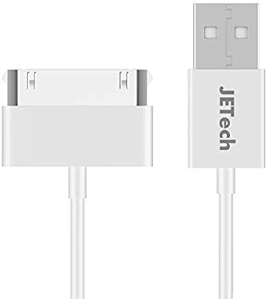 JETech Cable de Datos USB Compatible iPhone 4/4s, iPhone 3G/3GS, iPad 1/2/3, iPod, 1m, Blanco