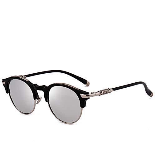 YANPAN Gafas De Sol Polarizadas De Alta Definición De Moda Gafas De Sol con Montura Redonda De Estilo Callejero Europeo Y Americano Película De Mercurio C2 Femenina