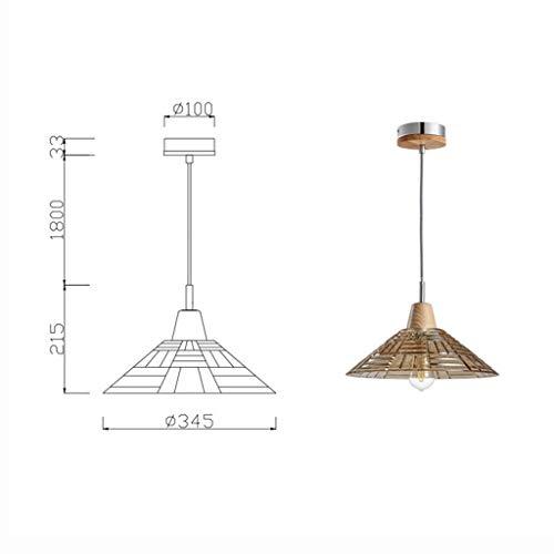 YUQIYU Colgante de lámparas de cristal de luces pendientes del hierro de la vendimia de techo de madera luces de la sala Comedor Bar Araña, 34.5 * 21.5cm (Color : 34.5 * 21.5cm)