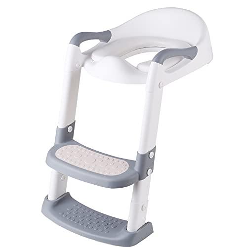 Entrenador de inodoro con escalera, asiento de inodoro para niños, plegable, con reposabrazos, cómodo cojín y escalones anchos, 5 alturas ajustables, antideslizante, asiento para niños de 1 a 10 años
