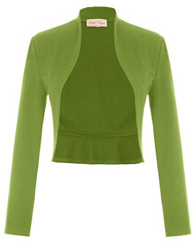 Belle Poque BP788 - Bolero de manga larga para mujer (apertura frontal) Mimbre verde (788-13). XXL