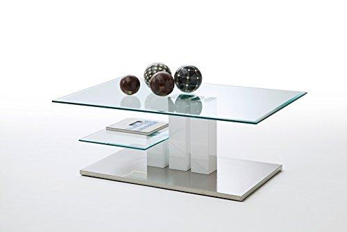 lifestyle4living Couchtisch, Tisch, Wohnzimmertisch, Salontisch, Sofatisch, Kaffeetisch, weiß Hochglanz, Edelstahl-Optik, Säulentisch, Glasplatte, Klar-Glas, Ablage