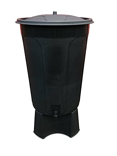 Keto Plastics 210L BLACK WATERBUTT, WATER BUTT COMPLETE WITH STAND, TAP & LID